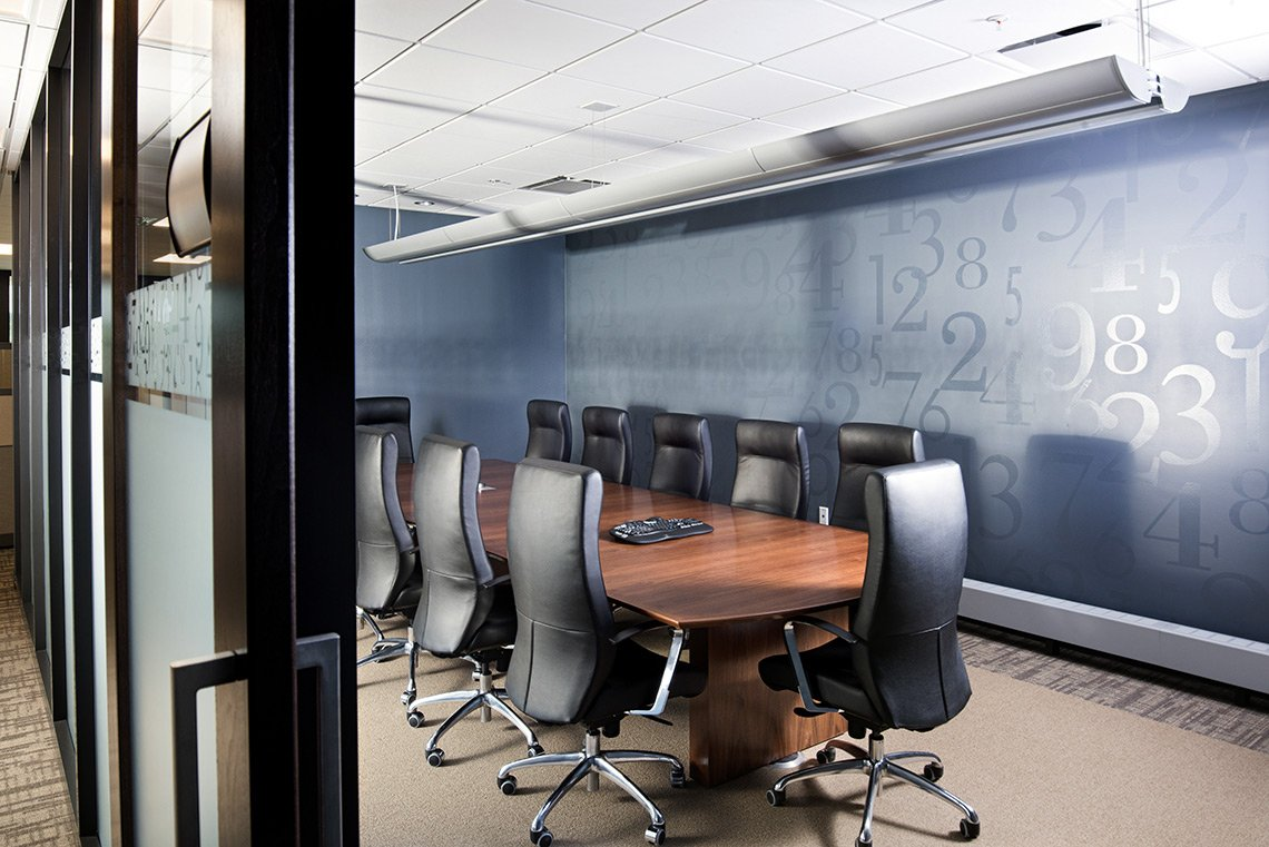 Architectural interior photo of a conference room at ABDO in Mankato MN