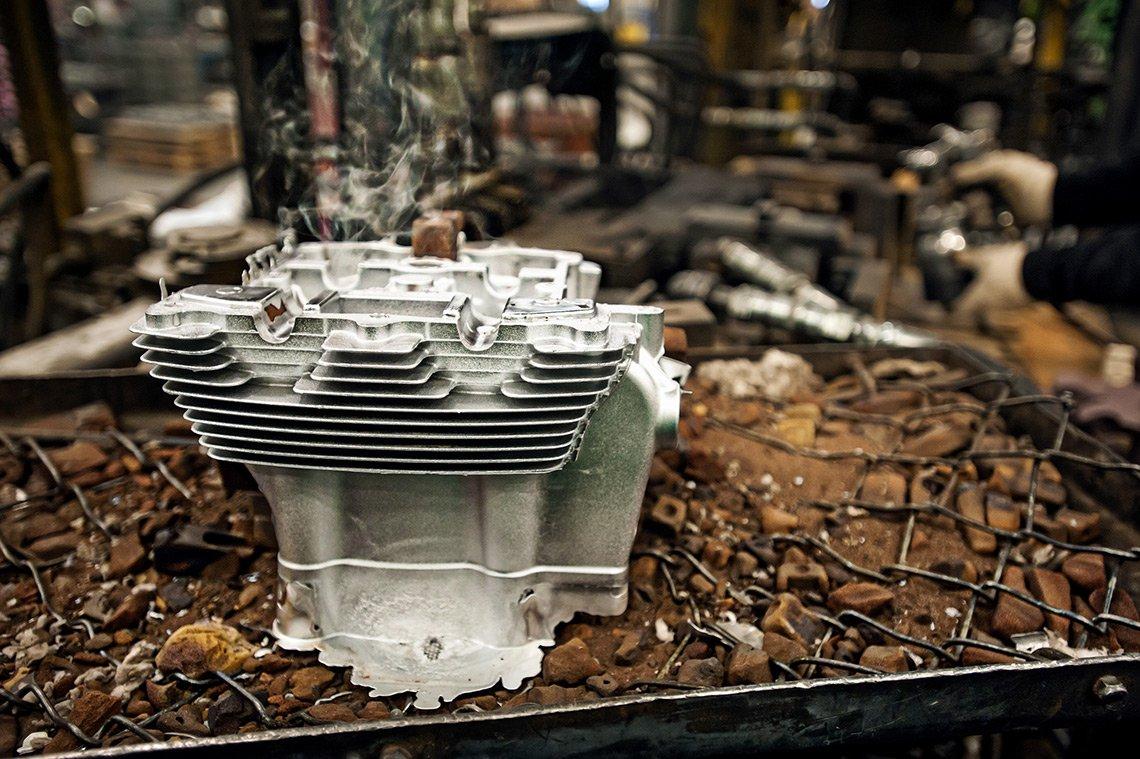 A steaming hot carburetor at Atek Precision Castings in Iowa