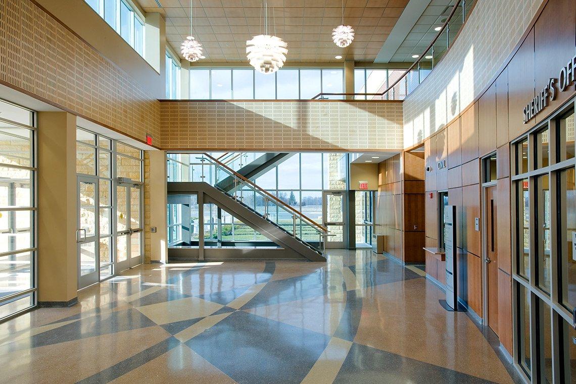Interior photograph of the Blue Earth County Justice Center in Mankato MN