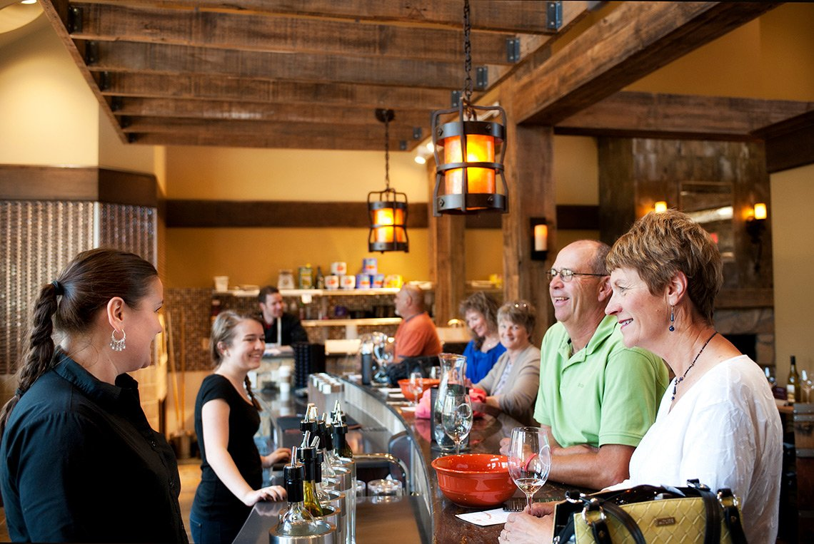 Customers at the bar area of Chankaska Creek Windery in Kasota MN