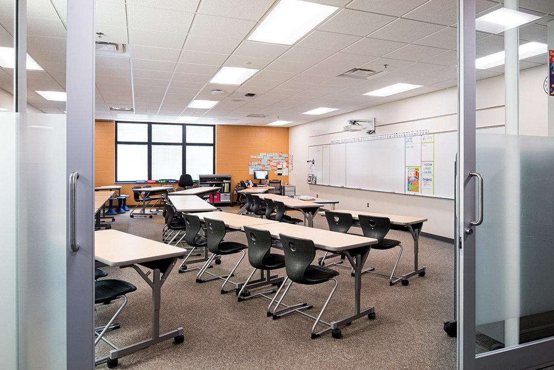 A classroom shot through the sliding doors in Mankato MN