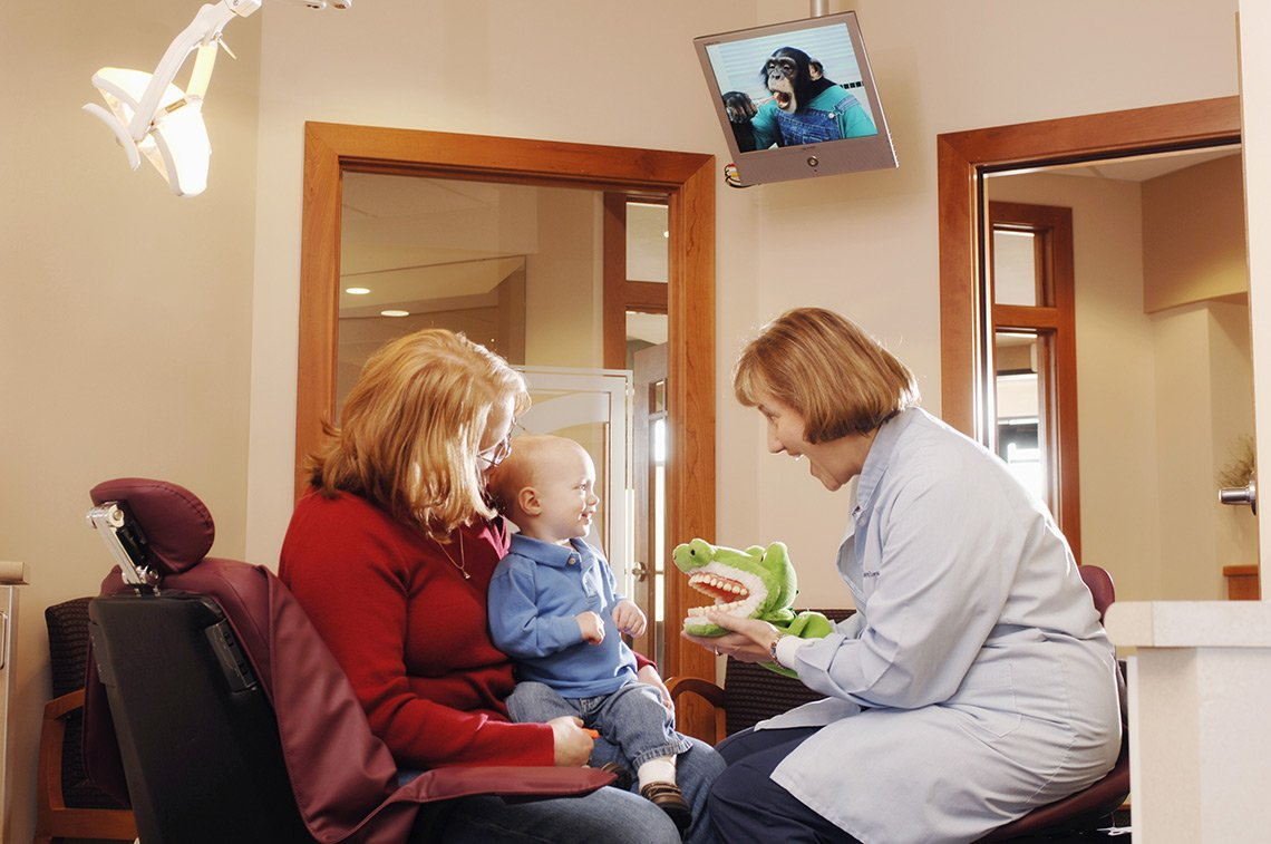 A female dentist uses a hand puppet to entertain a young patient being held b y his mother in Rochester MN
