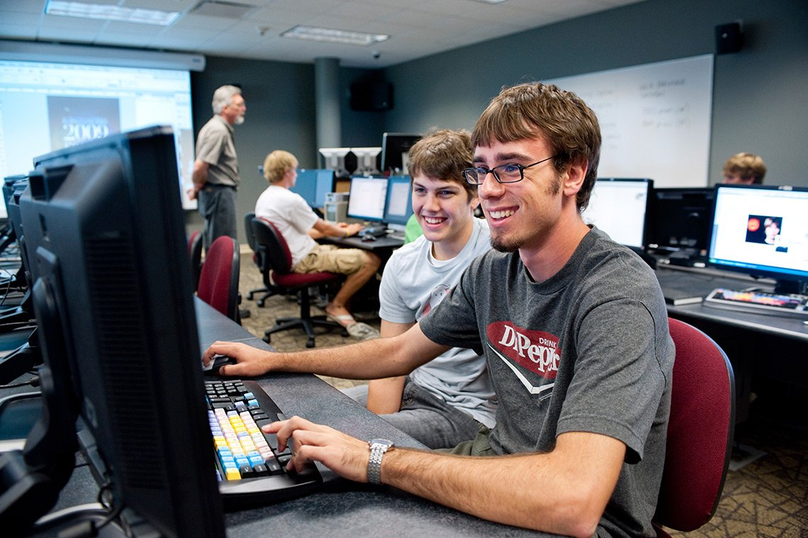 Students in a computer class at Dordt College in Iowa.