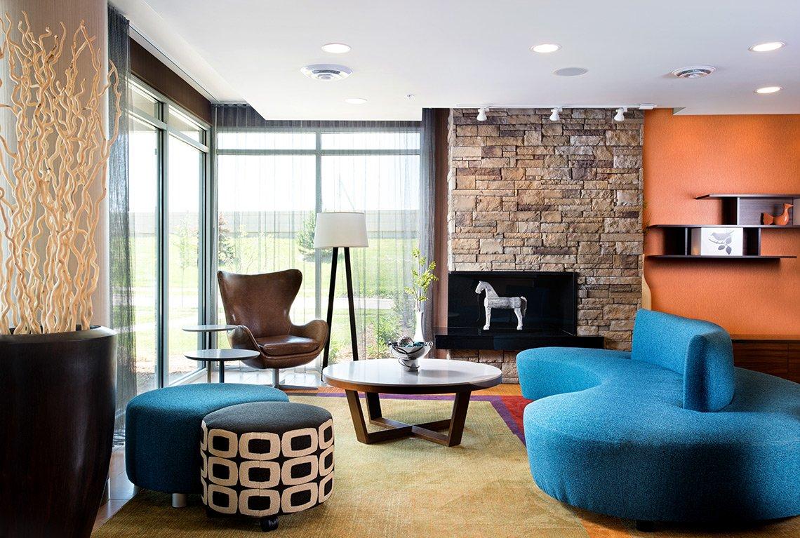 Interior hospitality photo of lobby area of local Rochester, Minnesota, hotel