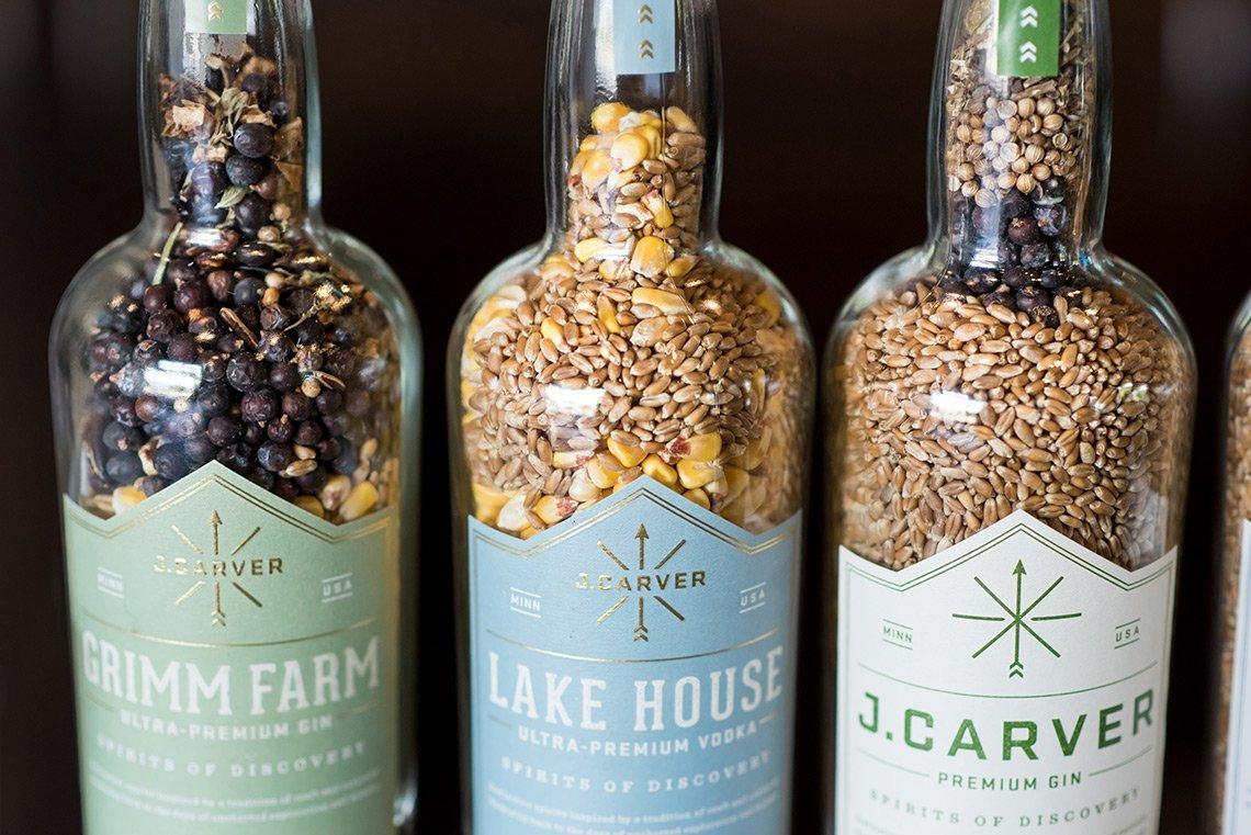 J. Carver Distillery gin and vodka bottles