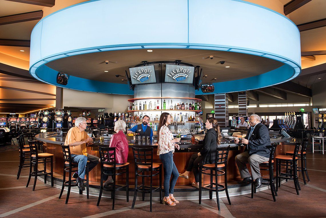 Hospitality photography of a bar area at Jackpot Junction in Morton MN
