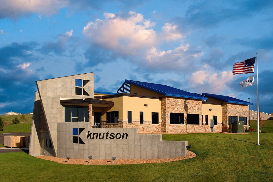 Exterior architectural photo of the Knutson Construction office in Rochester MN