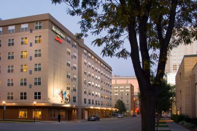 Exterior photo of the Residence Inn by Marriott in downtown Rochester MN