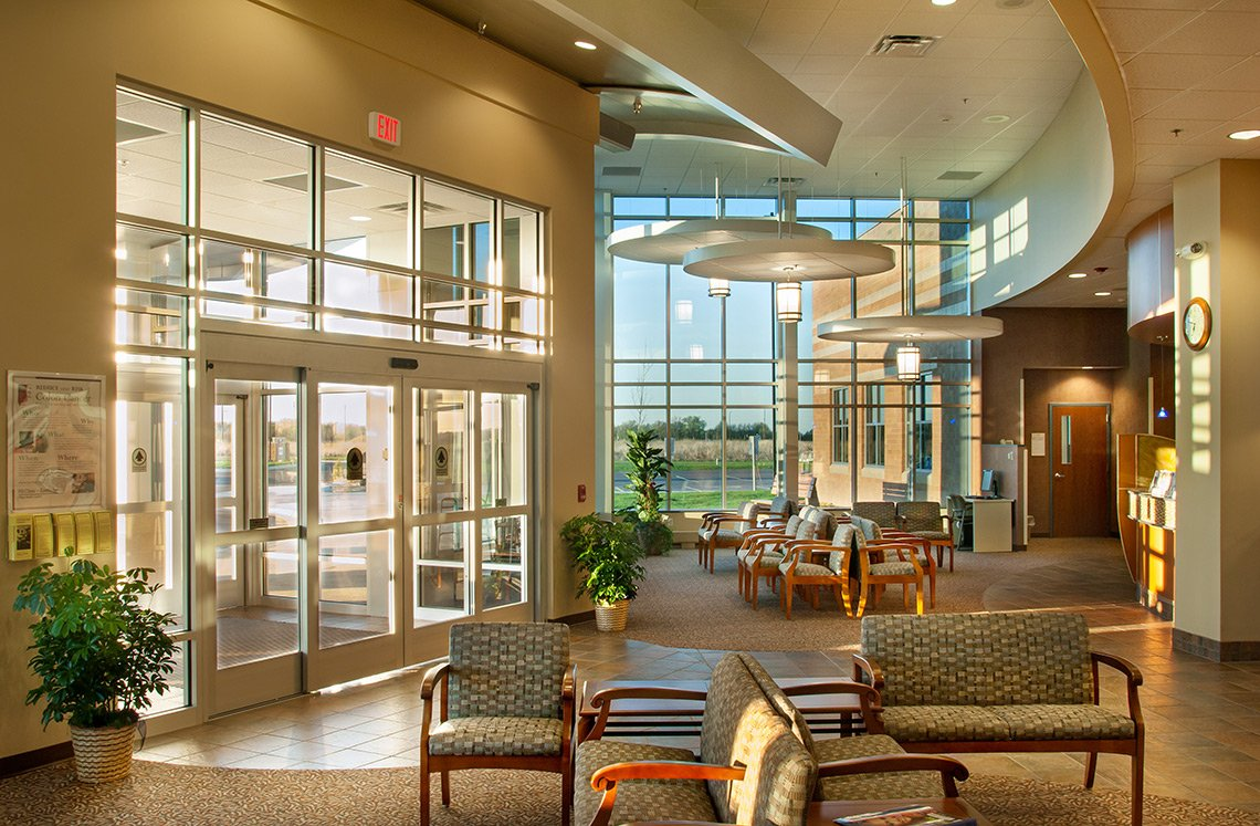 Interior architecture of the lobby of a hospital in Mankato MN