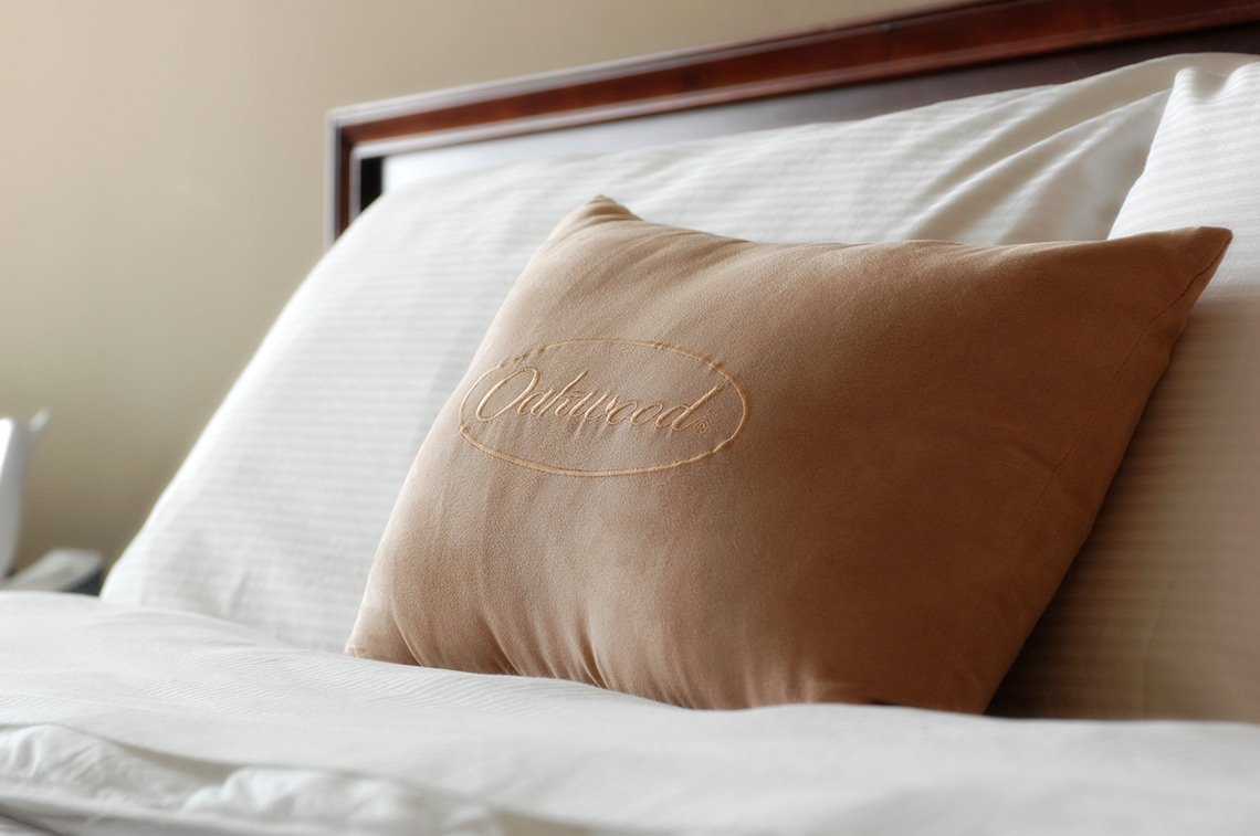 Hospitality photo of a pillow on a bed at a Rochester, Mn, hotel.