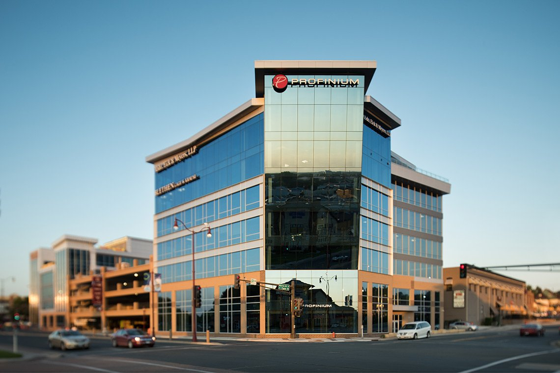 Exterior architectural photo of the Profinium Building in Mankato MN