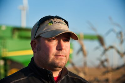 An environmental portrait of a young farmer near Grand Meadow, Minnesota.