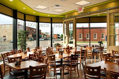 Interior photography of the dining area at St Peter Food Coop in Minnesota