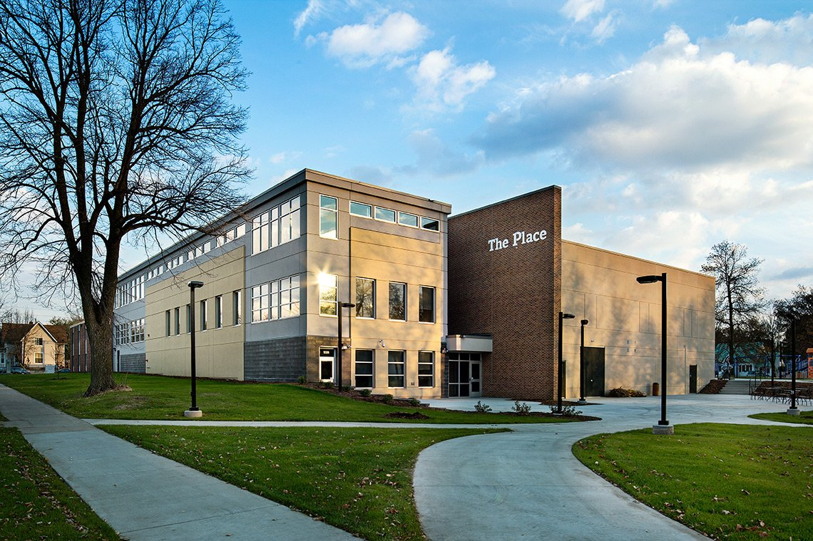 Exterior architectural photo of The Place at The Boys & Girls Club in Rochester MN