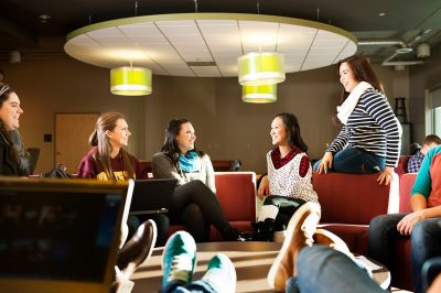 College students socializing at University of Minnesota Rochester Minnesota campus.