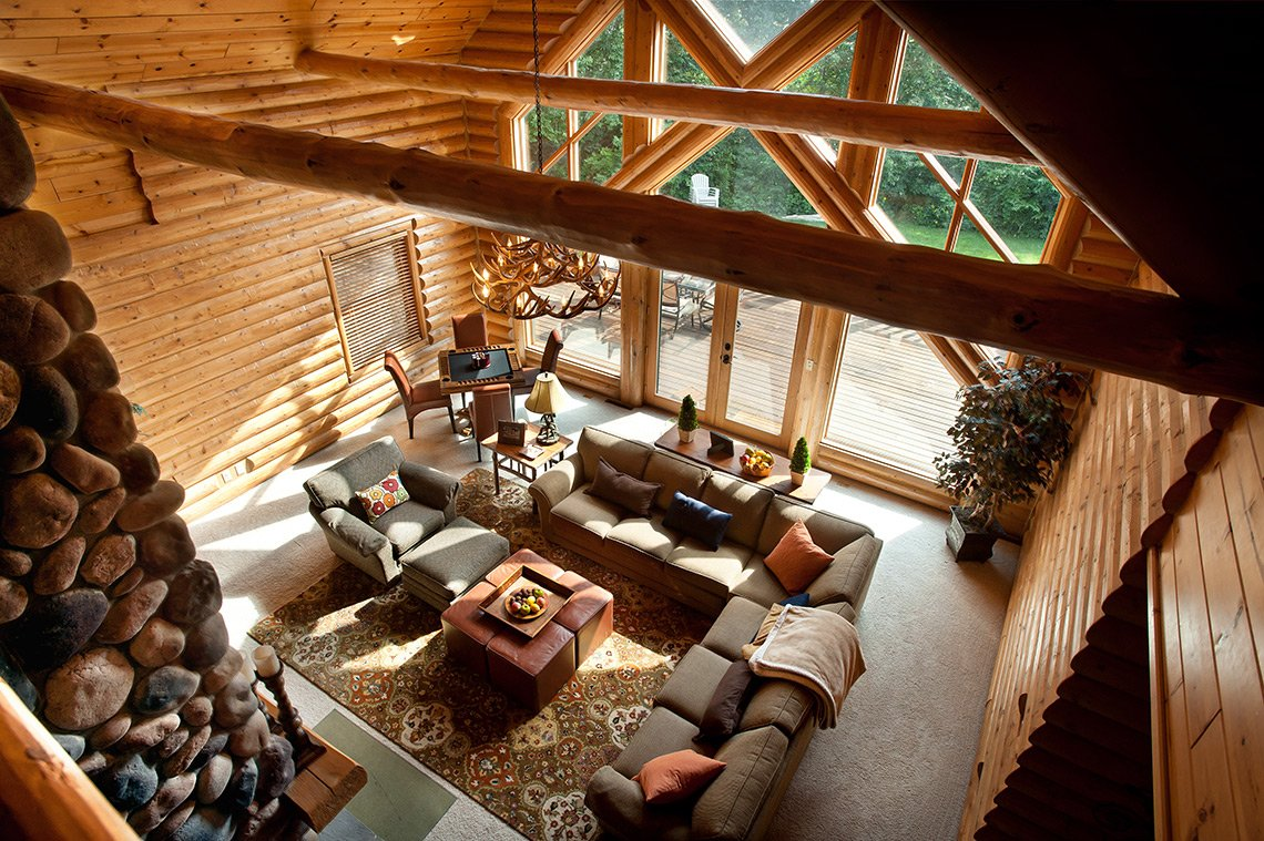 Overhead interior photo of a the living room of a beautiful Wisconsin cabin