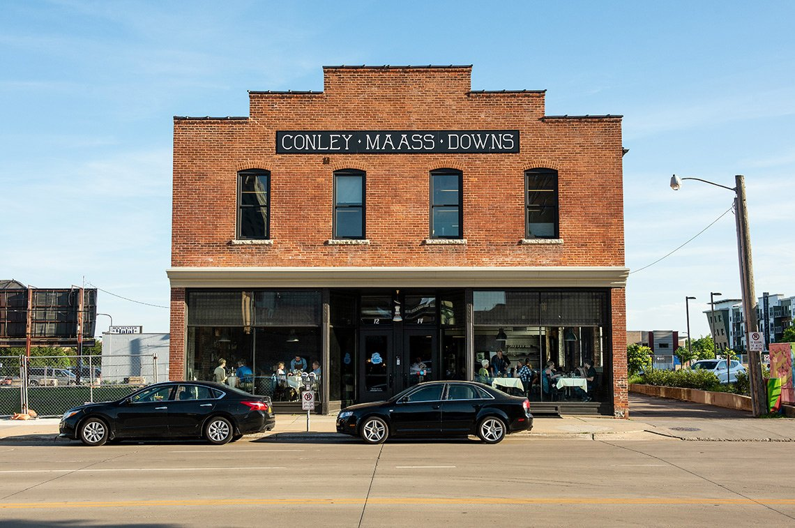 This architectural photo showcases the old architecture of the Conley Maass Downs building in Rochester mn where Bleu Duck Kitchen is located