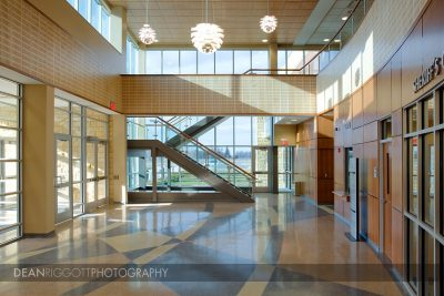 Interior architectural photo of the Blue Earth County Justice Center lobby in Mankato, Minnesota.