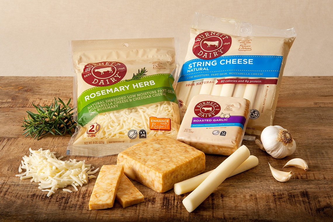 Product photo of cheeses for Burnett Dairy in Wisconsin
