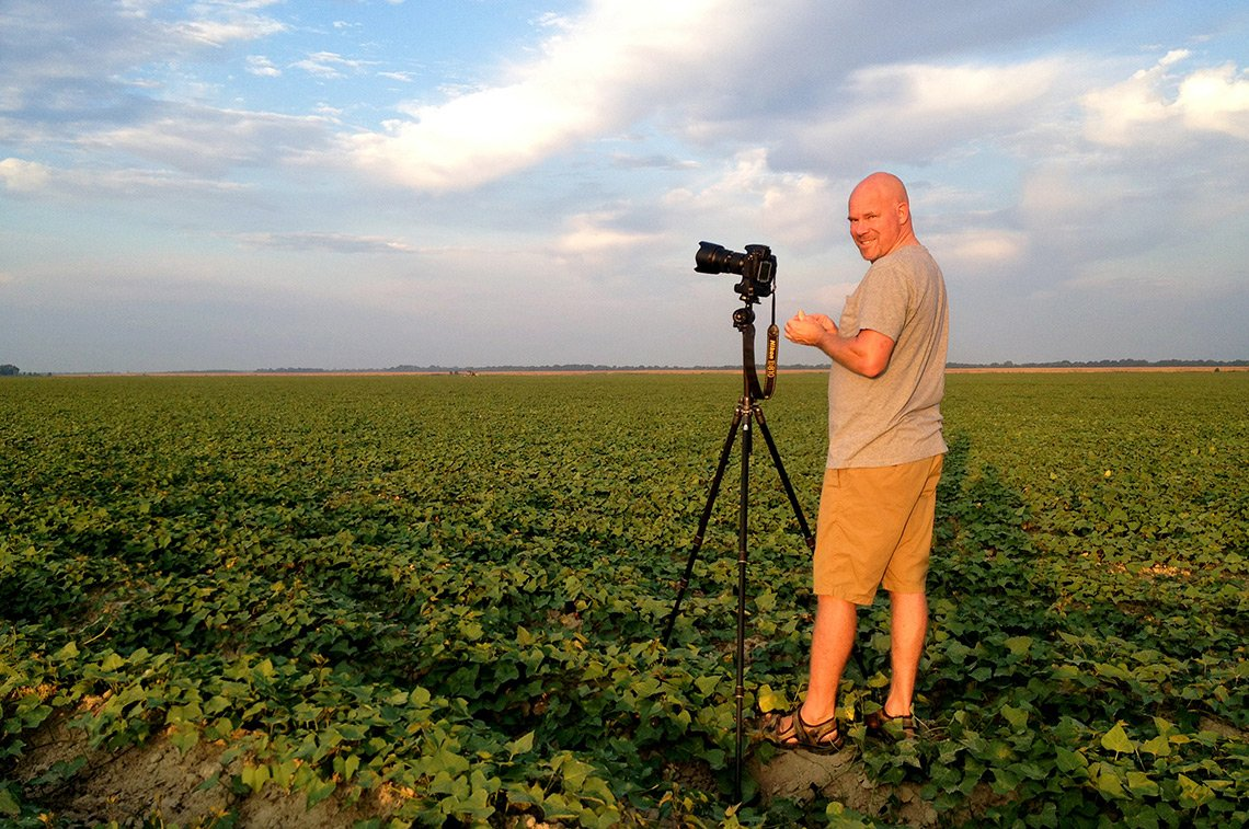 The photographer on a corporate agricultural photo shoot for Alexa down in Louisiana.