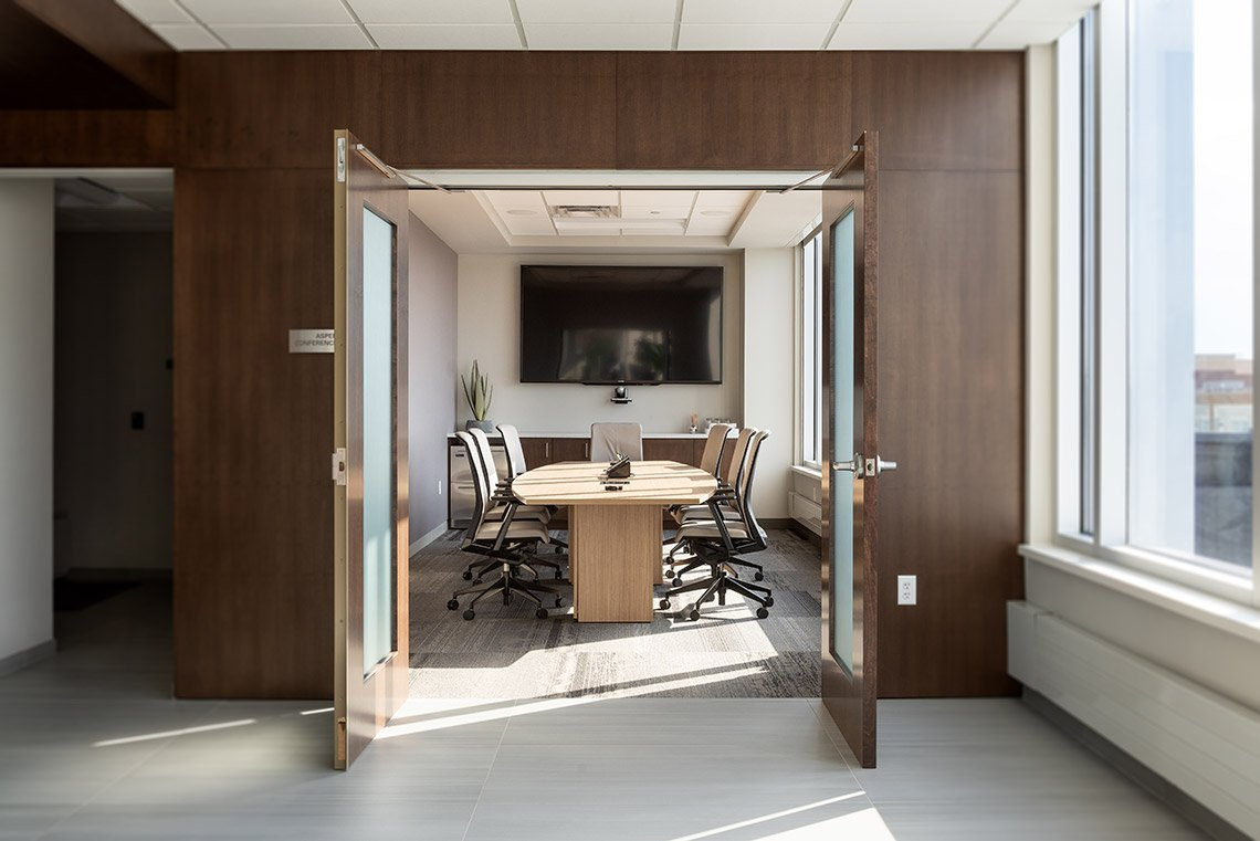 Interior photo of the conference room at Eide Bailly in Mankato, MN