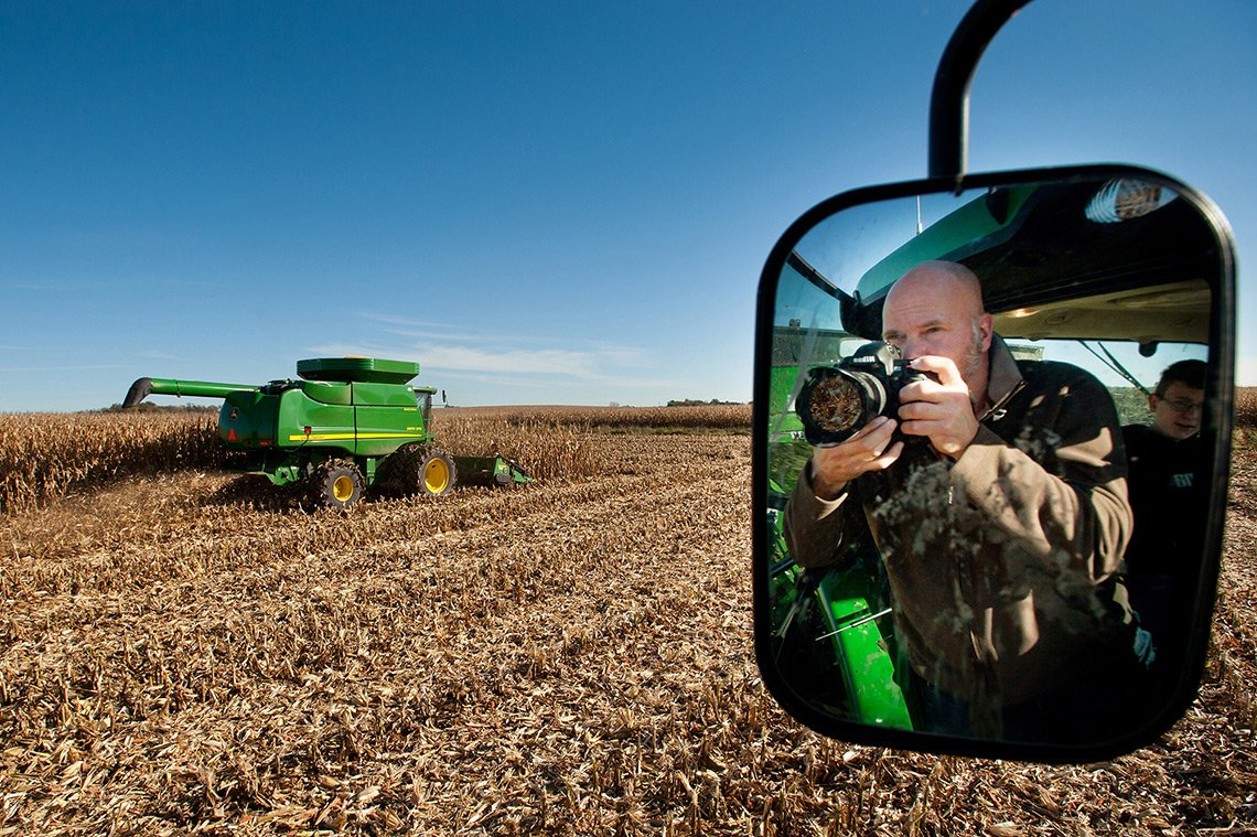 Dean on an agricultural photo shoot in the midwest.