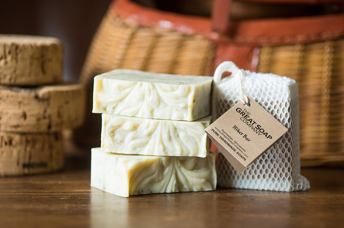 Product photo of a stack of handmade soap bars