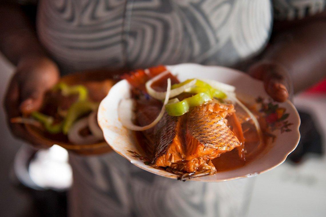 plate of fresh fish in Haiti