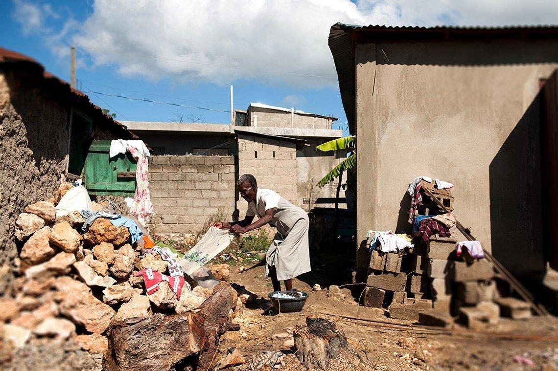 Haitian woman doing laundry