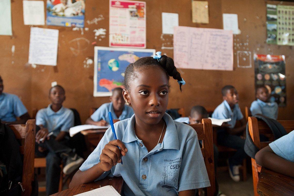 Haitian girl in school
