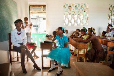 Kids in a church classroom in Fort Liberte Haiti