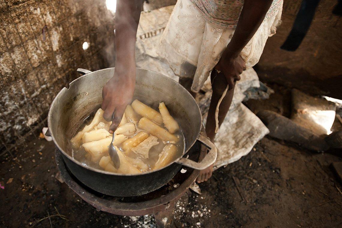 Haitian food being prepared in pot