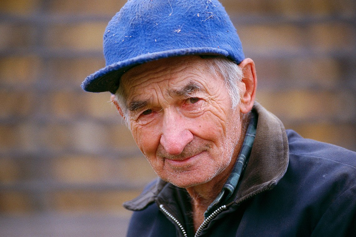 The face of an old weathered farmer in Minnesota