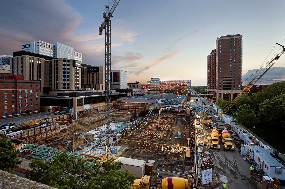 Industrial photogrpahy of large cement pour of Mayo Clinic's Jacobson Building in Rochester, Minnesota.