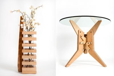 Product photography of two handmade wooden furniture pieces.