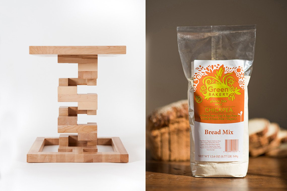 Photo of a funky wooden coffee table and another of a bag of Green Bakery bread mix