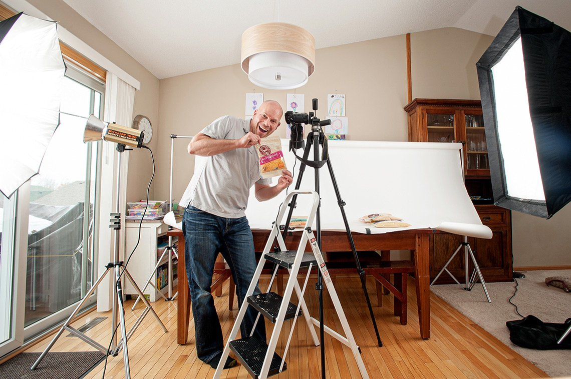Product photographer on a shoot for Burnett Dairy out of Grantsburg, WI.