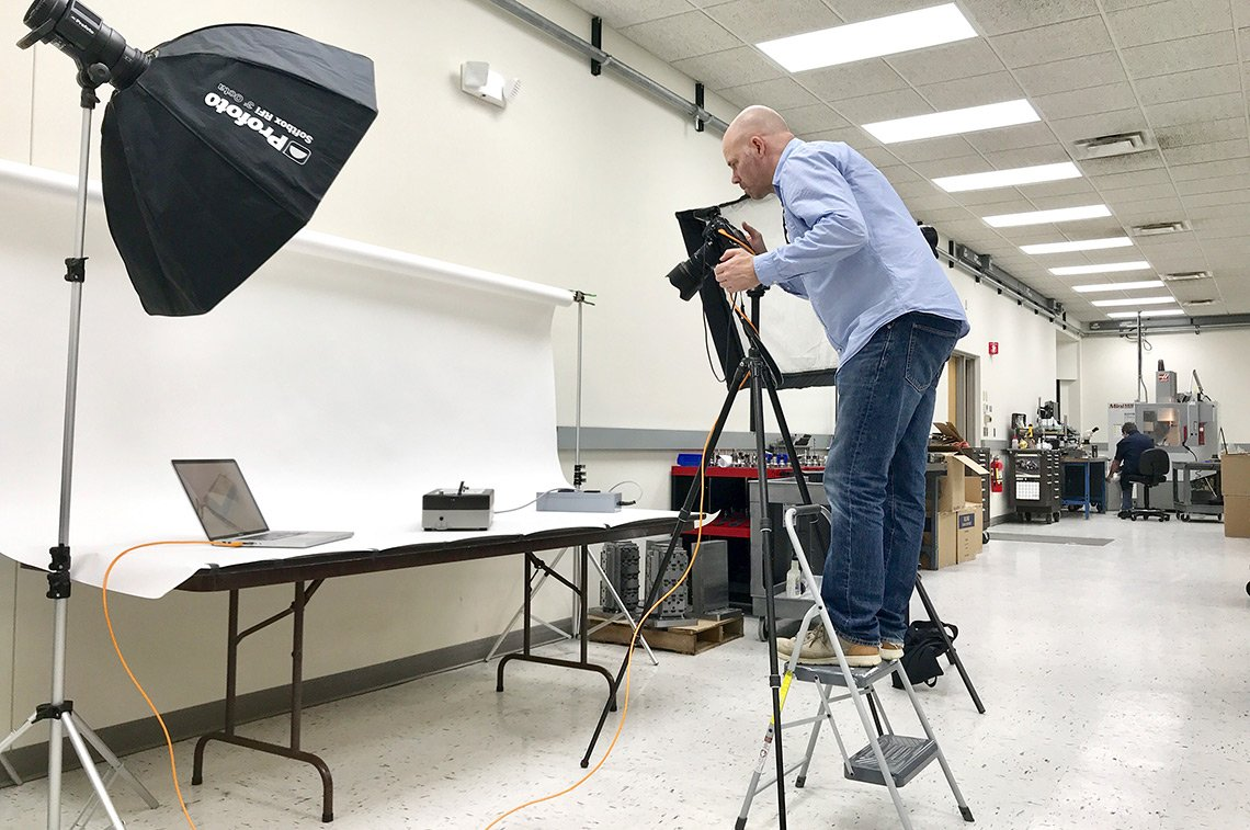 Dean Riggott on a product photo shoot for Domaille Engineering in Rochester, MN