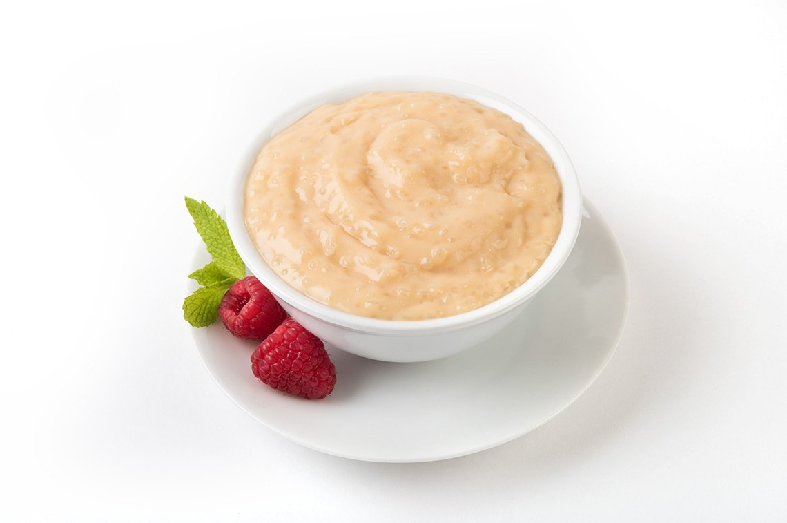 Product photo of tapioca pudding in a white bowl