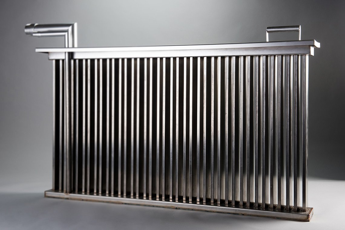 Product photography of a large steel peice for a commercial humidifier