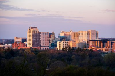 Skyline photo of downtown Rochester, Minnesota.