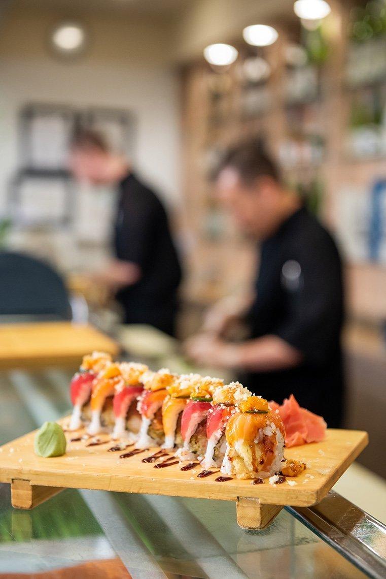 tray of fresh sushi rolls