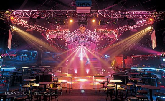 The light show over the dance floor at Aquarius Nightclub in Rochester MN