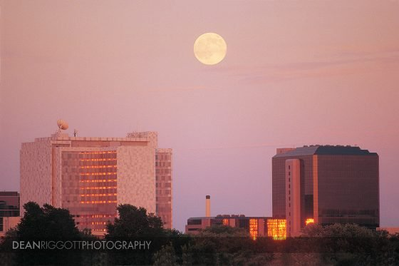 A full moon over the Mayo Clinic buildings in downtown Rochester MN