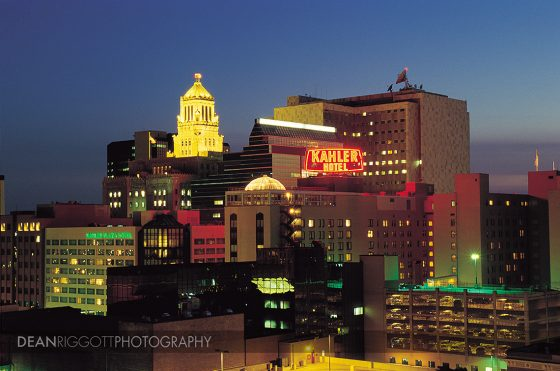 The downtown Rochester MN buildings all lit up at night