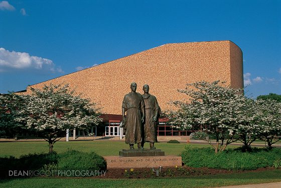The Mayo Brothers monument in front of the Mayo Civic Center in Rochester MN