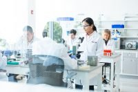 Fujifilm healthcare workers in a lab setting