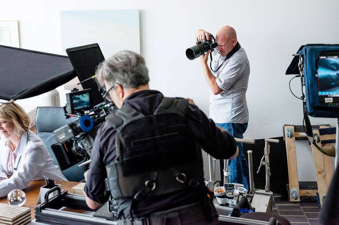 The photographer, Dean Riggott, working a healthcare shoot for Fujifilm