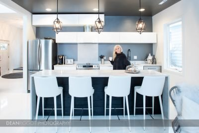 Architectural photography of a kitchen in a Rochester, MN, airbnb