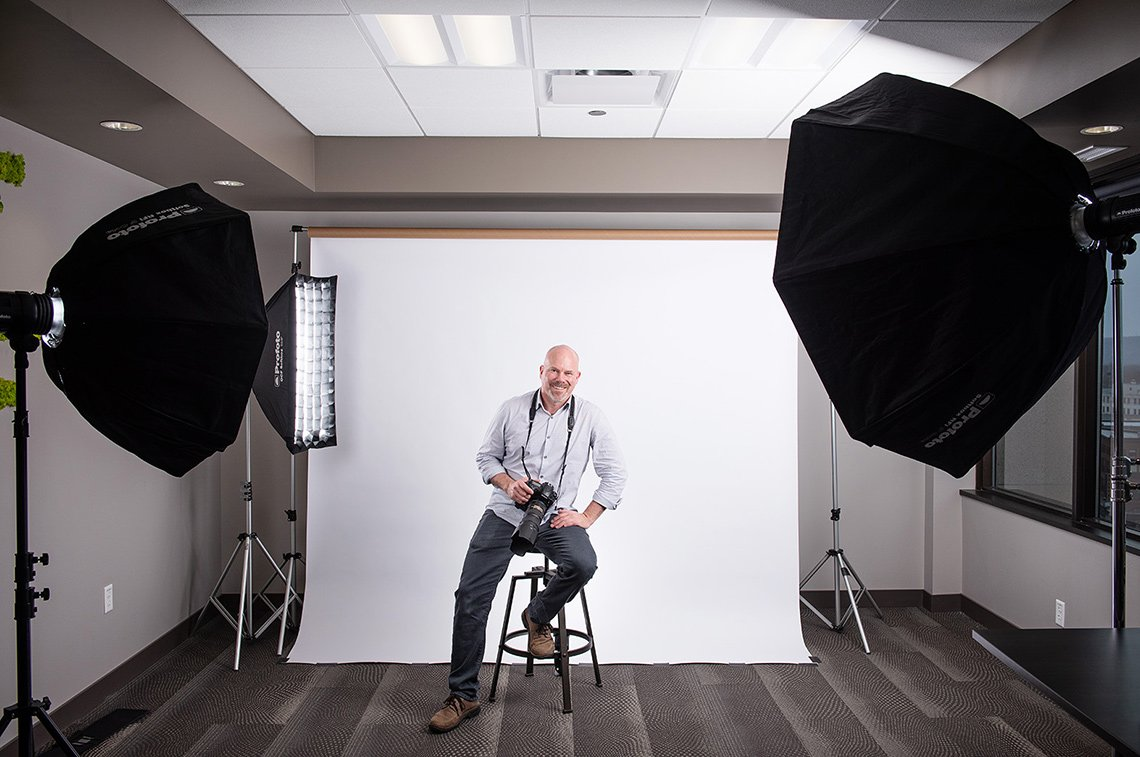 Dean Riggott, on location in LaCrosse, WI, for a corporate photography shoot.